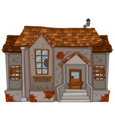 old house with broken windows and door vector image