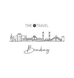 One single line drawing bandung city skyline vector