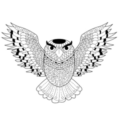 Owl coloring for adults vector