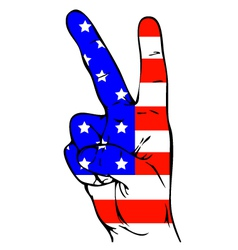 Peace Sign of the American flag vector image