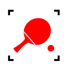 ping pong paddle with ball red icon vector image