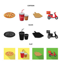 Pizza and food sign set of vector