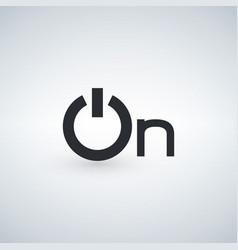 power on word icon minimalistic simple flat vector image