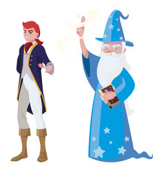 Prince charming and wizard tales characters vector