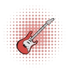 Red electric guitar comics icon vector image