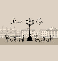 Retro cityscape with building facade street cafe vector