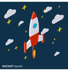 Rocket launch project startup concept vector