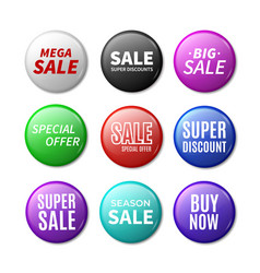 round sale badges 3d promotional brooches vector image