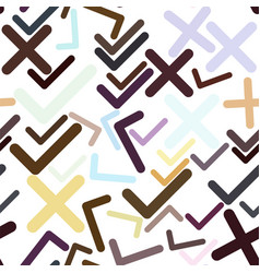 seamless abstract hand drawn tick or cross mark vector image