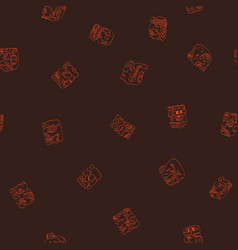 seamless pattern with mayan glyphs vector image