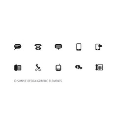 set of 10 editable phone icons includes symbols vector image