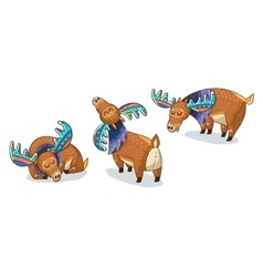 Set of cute cartoon hand drawn elks vector image