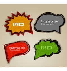 Set of hand-made comic style talk clouds vector image