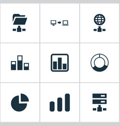 Set of simple analysis icons vector