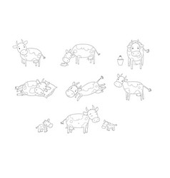 set with cute cartoon cow farm animals vector image