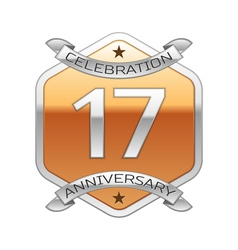 Seventeen years anniversary celebration silver vector image