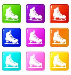 Skates icons 9 set vector