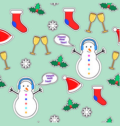 snowman sock speech bubble mistletoe snowflake vector image