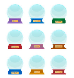 Souvenir made glass snow globes with captions vector