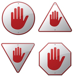 Stop Hand Signs vector