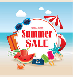 Summer sale background banner design template vector