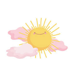 sun clouds summer hot cartoon character icon vector image
