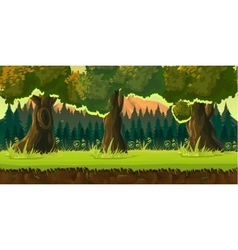 Sunset forest game background vector image