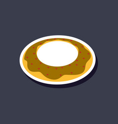 Sweet dessert in paper sticker donut vector