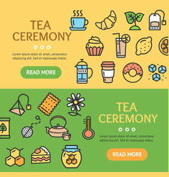 tea ceremony banner horizontal set vector image