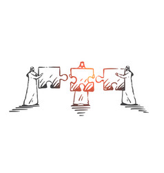teamwork cooperation coworking concept sketch vector image
