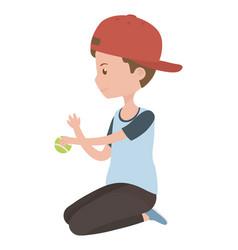 Teenager boy cartoon with tennis ball design vector