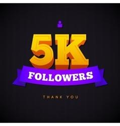 Thank you 5000 followers card thanks vector