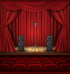 Theater hall stage with microphone vector