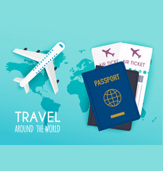 travel around world vacation booking flat vector image