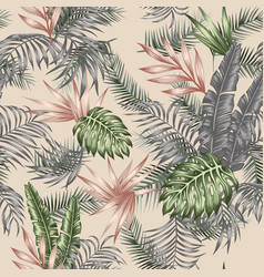 tropical leaves seamless botanical pattern beige vector image