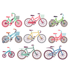 Urban family bikes flat set different vector