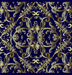 Vintage embroidered gold baroque seamless vector