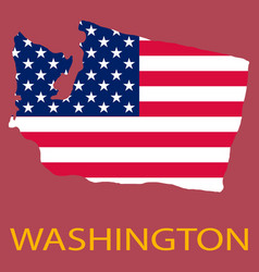 Washington state of america with map flag print vector