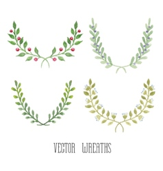 watercolor floral set wreaths vector image