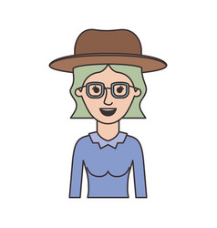 woman half body with hat and glasses with blouse vector image