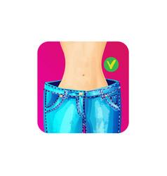 Women slim waist in big jeans - weight loss vector