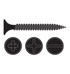 Wood screw black fastener with various drives - vector