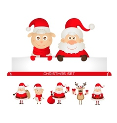 christmas set santa claus Christmas reindeer sheep vector image vector image