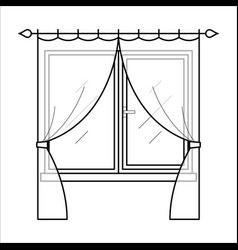curtains in thin linear style vector image vector image