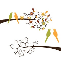 Cute Birds on Branches vector image vector image