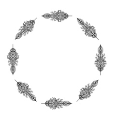 Decorative frame from Feathers Tribal vector image