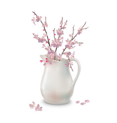 spring blossoms branch in jug vector image vector image