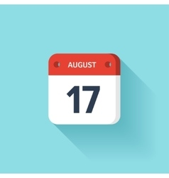 August 17 Isometric Calendar Icon With Shadow vector image vector image