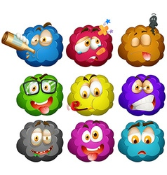 Facial expressions on fluffy balls vector image vector image