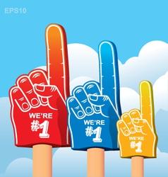 Foam finger fan vector image